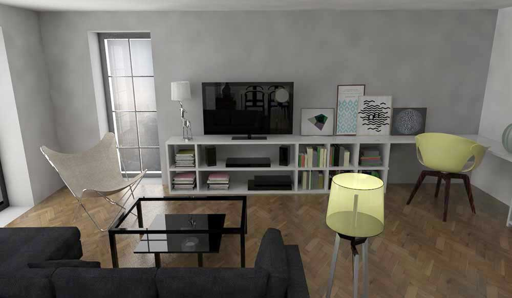 vizualizácia bytové priestory