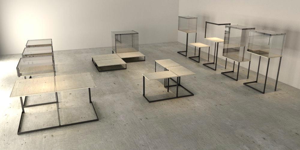výstavný priestor vytvorený kombináciu rôznych variant vitrín