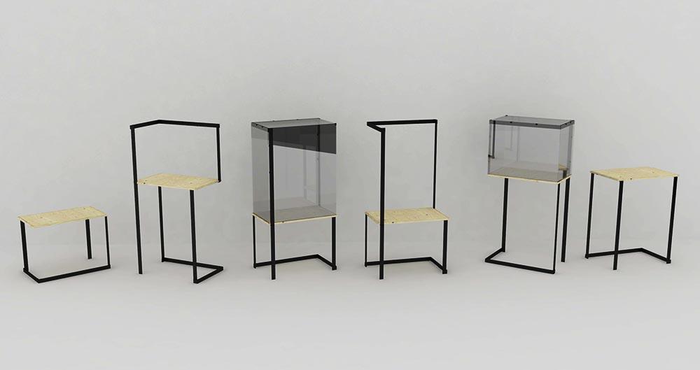 všetky varianty zhotoviteľné z jednej vitríny